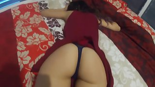 Step Sister With Red Dress Gets Fucked (cum in mouth)