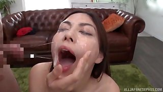 Hardcore gangbang and many facials for an amateur brunette Japanese