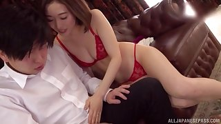 Japanese short haired babe Honda Misaki sucks cock in underwear