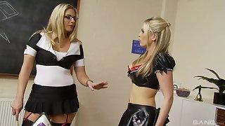 Kinky lesbians Jamie Brooks and Jordan Kingsley stuff each other