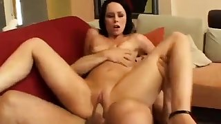 Hardcore anal assault as horny brunette slut takes three cocks