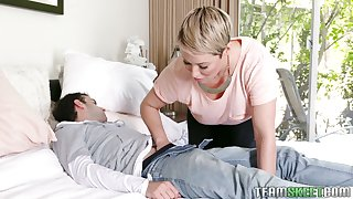 Hot MILF stepmom wants her stepson's weasel words down her throat