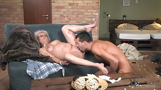 Granny works admirable here the brush soaked pussy and ass