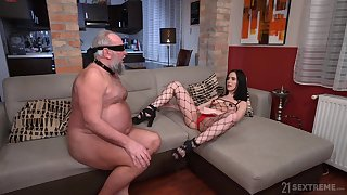 Controversial model Nikki Slyboots enjoys riding a Hawkshaw of an older man